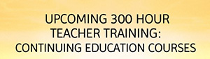 Upcoming 300 Hour Teacher Training: Continuing Education Courses
