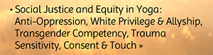 Social justice and equity in yoga - antioppression, white privilege and allyship, transgender competency, trauma sensitivity, consent and touch