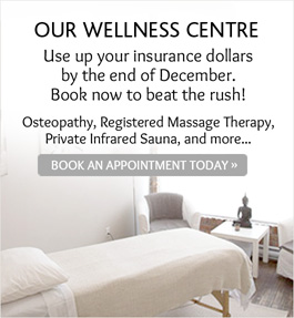 Wellness Centre: use up your insurance dollars before Dec 31st! Book now!